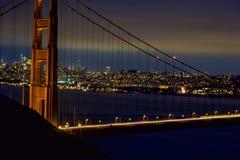 San Fransisco Golden Gate Bridge przy nocą Fotografia Royalty Free