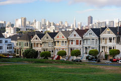San Fransisco Houses. Houses in San Fransisco with city view bacground Stock Photo