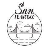San Fransisco ilustracja z nowożytnym literowaniem i golden gate Fotografia Stock