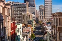 San Fransisco Kearney ulica przegapia zdjęcia royalty free