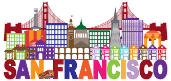 San Fransisco linia horyzontu i tekst Kolorowa ilustracja Obraz Royalty Free
