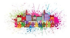 San Fransisco linii horyzontu farby Splatter wektoru ilustracja Obraz Stock