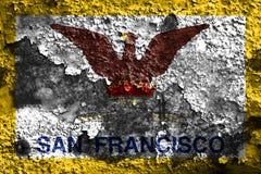 San Fransisco miasta dymu flaga, Kalifornia stan, Stany Zjednoczone O Fotografia Royalty Free