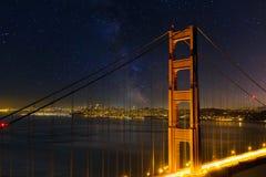 San Fransisco miasta linia horyzontu Przez Golden Gate Bridge przy nocą Fotografia Stock