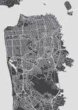 San Fransisco miasta plan, szczegółowa wektorowa mapa