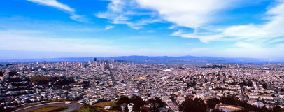 San Fransisco Panoramic. A sweeping panoramic view of the city of San Fransisco, California - with  downtown and San Fransisco Bay in the distance Stock Image