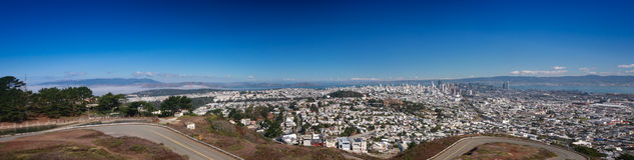 San Fransisco panoramiczny widok od bliźniaka Osiąga szczyt punkt widzenia Obrazy Royalty Free