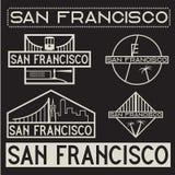 San Fransisco rocznika etykietki ustawiać Obraz Stock