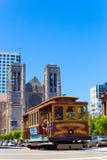 San Fransisco wagonu kolei linowej graci Hob Katedralny wzgórze V Zdjęcie Royalty Free