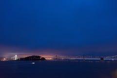 San Fransisco zatoka Bridżowa i skarb wyspa Obrazy Stock