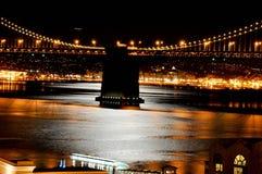 San Fransisco zatoki most, noc, zaświeca Zdjęcie Stock