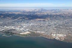 San Fransisco zatoki teren: Widok z lotu ptaka patrzeje w kierunku wschodu zdjęcia royalty free