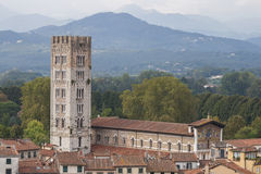 The San Frediano church tower in Lucca, Italy. Royalty Free Stock Photos