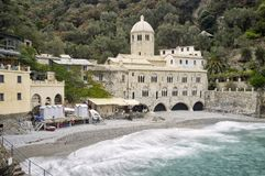 San Fruttuoso Abbey Ligurian Sea Imagen del color Foto de archivo