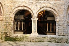 San Fruttuoso abbey. San Fruttuoso lower cloister view Stock Image