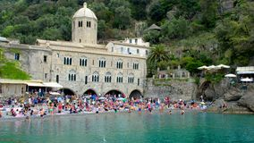 San Fruttuoso abbey on the sea in Italy - Portofino Natural Park - Genova - Liguria stock footage