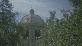 San Fruttuoso Abbey Tower Dome Midst Olive Trees stock video footage