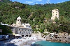 San Fruttuoso abbotskloster, Camogli, Liguria, Italien Royaltyfria Foton