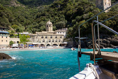 San Fruttuoso, Ligurian coast. The abbey of St. Fruitful, isolated on the Ligurian coast in Italy, reachable only by boat Stock Photo