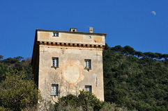 San Fruttuoso Tower. San Fruttuoso Dorias Tower view with the moon Stock Images