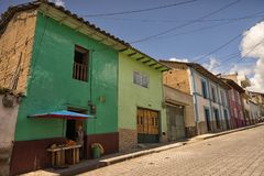 Street view of colonial architecture in San Gabriel, Ecuador Stock Photo