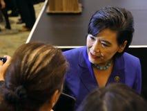 SAN GABRIEL, LA, CA - 7 de enero de 2016, congresista Democratic Judy Chu en Hillary Clinton Rally en el americano asiático y Pac Imagenes de archivo