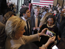 SAN GABRIEL, LA, CA - JANUARY 7, 2016, Democratic Presidential candidate Hillary Clinton shakes hands and poses for pictures at th Royalty Free Stock Image