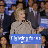 SAN GABRIEL, LA, CA - JANUARY 7, 2016, Democratic Presidential candidate Hillary Clinton speaks to Asian American and Pacific Isla. Nder (AAPI) members royalty free stock image