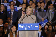SAN GABRIEL, LA, CA - JANUARY 7, 2016, Democratic Presidential candidate Hillary Clinton speaks to Asian American and Pacific Isla. Nder (AAPI) members stock photo