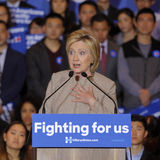 SAN GABRIEL, LA, CA - JANUARY 7, 2016, Democratic Presidential candidate Hillary Clinton speaks to Asian American and Pacific Isla. Nder (AAPI) members stock photography