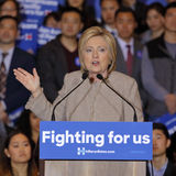 SAN GABRIEL, LA, CA - JANUARY 7, 2016, Democratic Presidential candidate Hillary Clinton speaks to Asian American and Pacific Isla Stock Photos