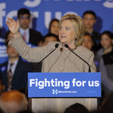 SAN GABRIEL, LA, CA - JANUARY 7, 2016, Democratic Presidential candidate Hillary Clinton speaks to Asian American and Pacific Isla Stock Photo