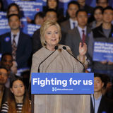 SAN GABRIEL, LA, CA - JANUARY 7, 2016, Democratic Presidential candidate Hillary Clinton waves and smiles to Asian American and Pa Royalty Free Stock Photography
