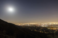 San Gabriel Valley Moonrise. Near Los Angeles California Stock Photography