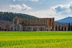 San galgano church with no roof in tuscany Royalty Free Stock Photo