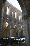 San galgano. The open church in tuscany used as a theatre in summer for concert and opera Stock Images