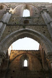 San galgano. The open church in tuscany used as a theatre in summer for concert and opera Royalty Free Stock Images