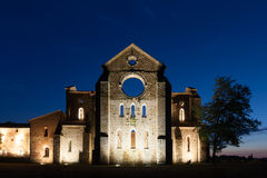San Galgano roofless Cistercian abbey ruins in Tuscany at sunset Royalty Free Stock Photos
