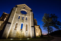 San Galgano roofless Cistercian abbey ruins in Tuscany at sunset Royalty Free Stock Photography