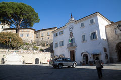 San Gemini medieval town in Italy. The Praetorian Palace in the medieval village of San Gemini. Umbria region, central Italy Royalty Free Stock Image