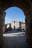 San Gemini medieval town in Italy. The Roman Gate and the church of San Francesco in the medieval village of San Gemini. Umbria region, central Italy Royalty Free Stock Photo