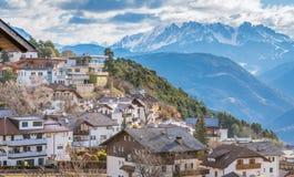 San Genesio, idyllic village near Bolzano. Trentino Alto Adige, Italy. The municipality of S. Genesio is located high above the provincial capital of Bolzano stock photography