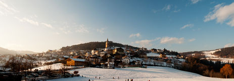 San Genesion Atesino - Jenesien. Panorama with snow of this beautiful village in South Tyrol - Italy Stock Images