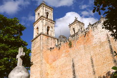 San Gervasio Cathedral V. San Gervasio Cathedral, magical village of Valladolid , mexican state of yucatan stock image
