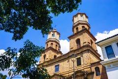 San Gil Church View em Santander, Colômbia imagens de stock royalty free