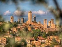 San Gimignano中世纪村庄,意大利,欧洲 库存图片