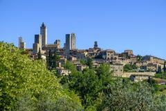 San Gimignano è una piccola città medievale della collina in Toscana Fotografie Stock