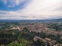 San Gimignano, Италия, вид с воздуха стоковое фото rf