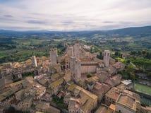 San Gimignano, Италия, вид с воздуха стоковое изображение rf