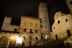 San Gimignano на ноче Стоковая Фотография